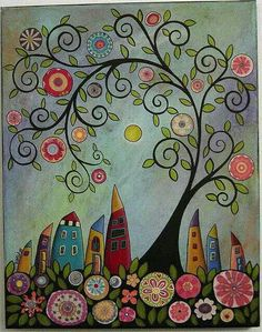 Swirl tree abstract houses painting by karla gerard - Beautiful curly whimsical art. Art Fantaisiste, Art Populaire, House Quilts, Inspiration Art, Whimsical Art, Art Plastique, Tree Art, Tree Collage, Medium Art
