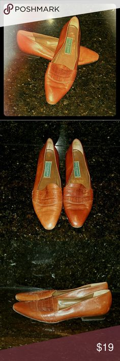 COLE HAAN leather 9 AA Loafers Brown Italian Shoes Cole Haan Size 9AA Brown leather Made in Italy Perforated design at mid toe Some wear, but lots of life left  Shipping is expensive.  BUNDLE for extra 25% off PLUS pay only one shipping fee AND get more cool stuff! Cole Haan Shoes Flats & Loafers