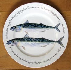 Mackerel Large Dinner Plate - Made by Jersey Pottery paintings by Richard Bramble Wall display collection in kitchen