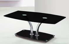Delf large black glass coffee table chrome frame