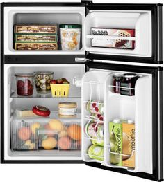 GE GDE03GLKLB 19 Inch Top Freezer Compact Refrigerator with 2 Glass Shelves, Storage Drawer, 2 Door Bins, Beverage Can Door Bin, Freezer Door Bin, ENERGY STAR and Mini Ice Cube Tray: CleanSteel