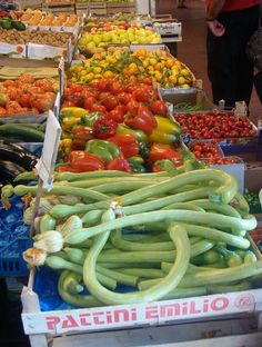A vegetable market in Italy could go in Time To Eat, but it is always a favorite place to be.  Look at the colors!  This was in October 2006, in Ventimiglia, Italy.
