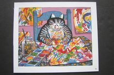 "COLOR KLIBAN CAT CARTOON PRINT - ""ARTIST CAT"" - KILBAN 