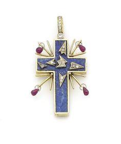 A lapis lazuli and diamond pendant,  by Salvador Dali