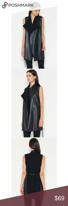Vegan Leather Wrap Vest Downtown hip in this vegan leather vest with pockets. Back features a contrast knit fabric for more comfort and comes with a tie to wrap around.      50% Polyurethane 50% Cotton.   Size-S,M,L.   Color-Black Classic Paper Doll Jackets & Coats Vests
