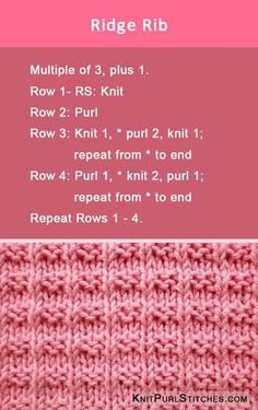 Knit the Ridge Rib stich pattern. Using Knit and Purl.