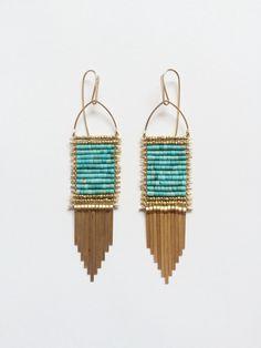 Turquoise prayer blanket earrings