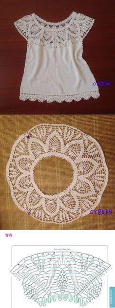 Белый топ с круглой кокеткой крючком. Топ крючком с ананасовой кокеткой   [] # # #Tissues #Necks, # #Knit #Dresses, # #Pink #Blouse, # #Blusas #Tejidas, # #Blusas #Crochet, # #Lace