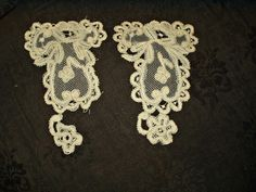 2 Victorian Tape Lace Tulle Dress Applique Embellishments Trim Pieces - The Gatherings Antique Vintage