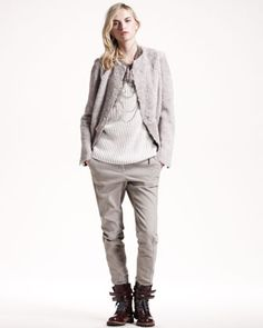 Reverse-Shearling Jacket, Ribbed Cashmere Tube Top & Garment-Dyed Skinny Pants by Brunello Cucinelli at Neiman Marcus.