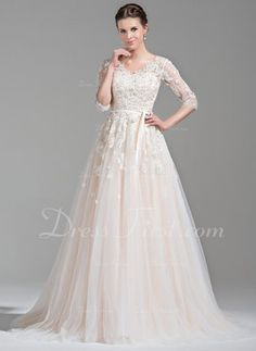Ball-Gown V-neck Court Train Tulle Wedding Dress With Beading Appliques Lace  Sequins Bow(s) (002071524) 0d9b3285ffed
