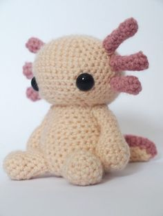 Axolotl - Amigurumi Crochet Pattern I love Axolotls. My hubby Mr S had an axolotl when we were in highschool named Zephyr and she was amazing! Pattern availble for this little cutie at mrfox.etsy.com