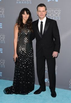 Pin for Later: See Every Look From the Critics' Choice Awards Red Carpet Luciana Barroso Wearing Naeem Khan, with husband Matt Damon.