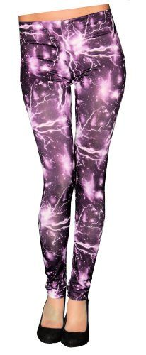 Fundesires Colorful Lightning Print Womens Leggings (Purple) FunLeggings http://www.amazon.com/dp/B00K587D52/ref=cm_sw_r_pi_dp_-TnOub19KPC2K