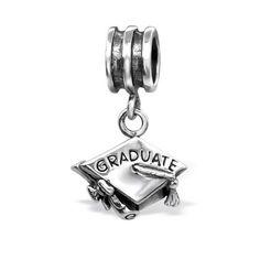 Graduation Hat - 925 Sterling Silver Plain Beads