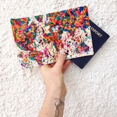 Canvas Splatter Painted Map of the World Passport Holder - Traveler - Travel Lover - Passport holder ($46.95)