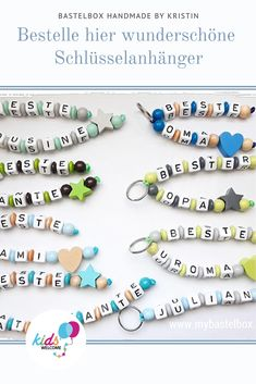 Entdecke hier wunderschöne individuell gestaltete Geschenkideen. #geschenkideen #schnullerketten #bastelbox #kidswelcome Box, Turquoise Bracelet, Handmade, Jewelry, Business, Shopping, Gifts, Crafting, Schmuck