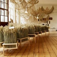 Corn Craft by Gallery FUMI and Studio Toogood - Idea to bring plants into office !!!!...