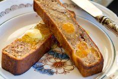 'I Can't Believe It's Paleo' Banana Bread Recipe Breads with free range egg, salt, bananas, honey, vanilla extract, coconut oil, dry coconut, almond meal, tapioca flour, ground cinnamon, nutmeg, gluten-free baking powder, walnuts, dried apricot