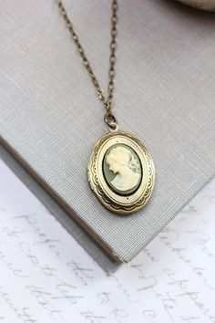 Oval Locket Necklace Green Ivory Cream Cameo by apocketofposies