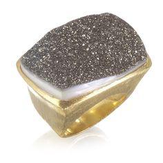 Grey Druzy Ring by Wendy Mink