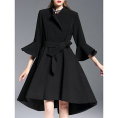 Black Asymmetric Long Sleeve Stand Collar Plain Trench Coat with Bow ($188) ❤ liked on Polyvore featuring outerwear, coats, long sleeve coat, bow coat, trench coats, asymmetrical coat and long sleeve asymmetric coat