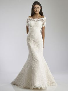 Helen-- french lace fit and flare with a gorgeous off-the-shoulder illusion neckline