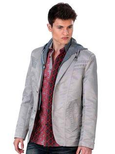 70% algodón y 30% de microfibra de color gris plata  Deporte capa de la chaqueta en 199 dólares