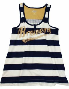 49d0683bfc98dc Milwaukee Brewers Women s Stripe Tank Top  36