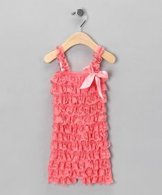 Take a look at this Peachy Pink Ruffle Romper - Infant by Baby Lace Rompers on #zulily today!