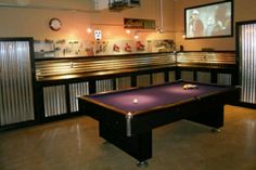 This a pretty cool idea - to combine your garage with your own 'man cave' - pool table, beer fridge, TV.(Cool Pools With Caves) Man Cave Garage, Garage Game Rooms, Man Cave Basement, Garage House, Garage Bar, Diy Garage, Dream Garage, Garage Storage, Best Man Caves