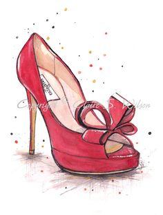 Red Bow Valentino Art Print 5x7 por claireswilson en Etsy