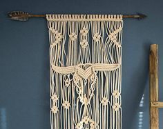 This stunning large macrame wall hanging was inspired by my love for western style movies when I was a child. The center point is a scull of the cow that takes you all the way to the west. I imagine this macrame decor as a wall accent in your living room bringing a boho touch to your home. Above your sofa or your fireplace, all your of family and friends will be in love with it. But its not only that. This macrame wall hanging just as well as any other handmade items made with love…