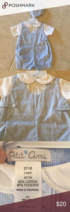 Brand NEW blue gingham outfit with cap New. Adorable dressy outfit with matching cap that ties under chin. Light blue gingham print. Never taken off the hanger. My son was born in September and by the time he could wear it, it was too small for him. petit ami Matching Sets