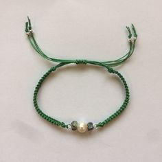Pearl and turquoise macrame bracelet by KnottedStarJewellery