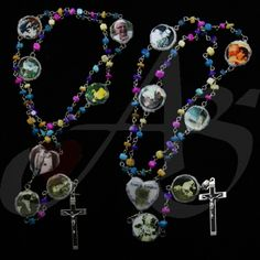 This rosary is a special Rosary for a few reasons. Firstly, this is a resurrection Rosary, so all of the images represent a memory of the deceased person. The colors of the stones represent the individual's colorful personality and involvement with De Colores. Most importantly, the thumbprint of the resurrected soul is on the centerpiece, so that they may pray the Rosary with you. Secondly, this rosary was given on Mother's Day which is an added bonus. This Rosary is definitely one of a…