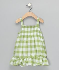 Take a look at this Green Checkerboard Ruffle Dress - Infant, Toddler & Girls by Gioberti on #zulily today!