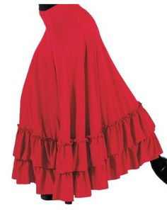 Flamenco Gypsy Ruffle Skirt    A skirt as pretty as this, cannot be for dancers only! Welcome your inner Argentinean with this lovely red ruffle skirt. From day out in the sun, to evening dinner and of course dancing, it works well with assorted shirts and blouses in your wardrobe.