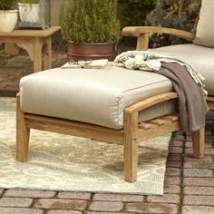 Summerton Teak Ottoman | With its durable construction and variegated wood grain, the Summerton Ottoman captures the organic beauty of teak. Weatherproof and maintenance-free, it can be left outside to weather to a pleasant gray or, If desired, teak oil can be applied to keep the original brown coloring.