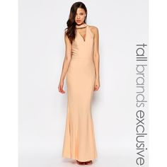 Jarlo Tall Cut Out Tie Neck Maxi Dress (£41) ❤ liked on Polyvore featuring dresses, orange, white halter top, white maxi dress, neck ties, white halter dress and neck-tie