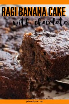Ragi Chocolate Chip Cake - healthy eggless cake with millet, bananas and chocolate chips! - Easy,healthy and super yummy! Delicious Cake Recipes, Yummy Food, Healthy Recipes, Custard Cookies, Millet Recipes, Eggless Baking, Chocolate Chip Cake, Gluten Free Cakes, Quick Easy Meals