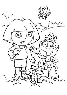 Sunflower Coloring Pages, Spring Coloring Pages, Online Coloring Pages, Coloring Pages For Girls, Coloring Pages To Print, Free Printable Coloring Pages, Free Coloring Pages, Coloring For Kids, Dora Coloring
