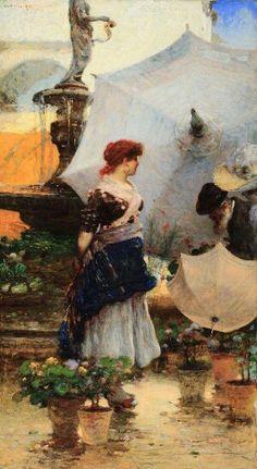 Mercato a Piazza delle Erbe, Verona Angelo Dall Oca Bianca (1858-1942)