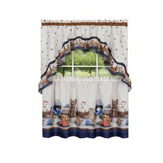 Adorable Puppies, Kittens & Paws Designed Kitchen Curtain Set Imported Header: Rod Pocket What's Included: Swag Valance & Tiers Swag Valance Measurement: 57 in. Wide x 30 in. Kitchen Curtain Sets, Kitchen Curtains, Window Curtain Rods, Valance Curtains, Blue Kitchen Accessories, Utensil Storage, Swag, Kitchen Models, Adorable Puppies