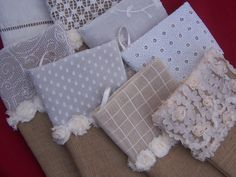 Burlap Stockings Lace Christmas Country Chic Polka Dots