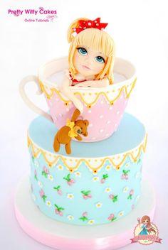 Girl in a Teacup Cake by SweetLin