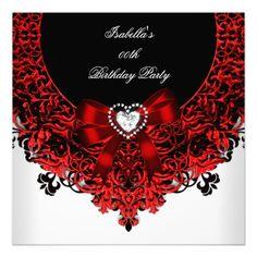 birthday party zebra elegant red black white invitation 40th bd