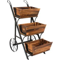 3 Tier Wooden Garden Cart Planter