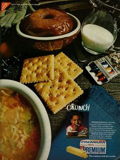 1970 Food Ad, Nabisco Premium Saltine Crackers, with Young Child Vintage Food Posters, Vintage Ads, Retro Recipes, Vintage Recipes, Saltine Crackers, Salty Snacks, Retro Ads, Baking, Breakfast
