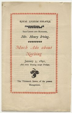 Shakespeare Theatre programme 1891 Much ado about Nothing Royal Lyceum London Shakespeare Theatre, Opera, Opera House